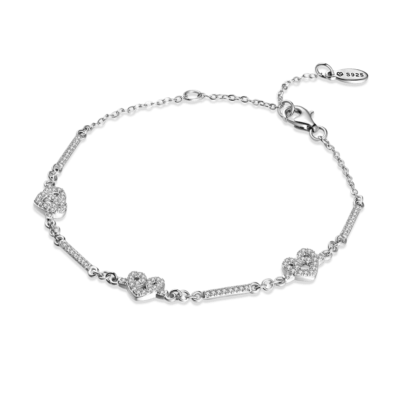 Love You Forever Silver Bracelet with CZ - Length Adjustable From CharmSA Image 1