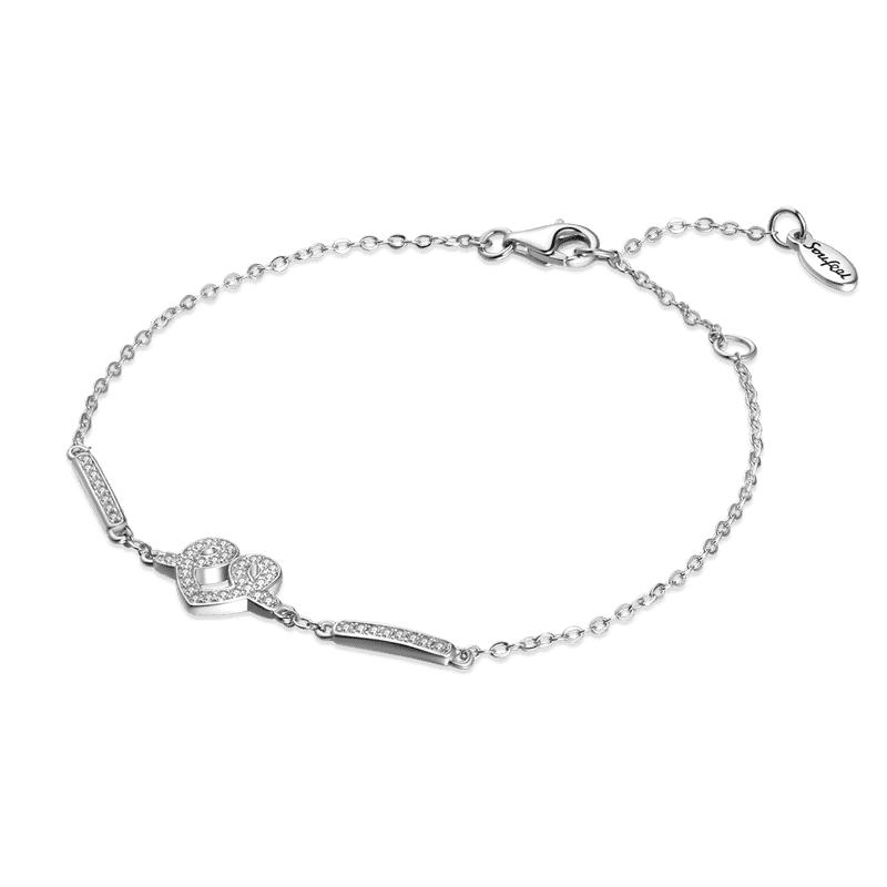 Heart of Romance Silver Bracelet with CZ - Length Adjustable From CharmSA Image 1