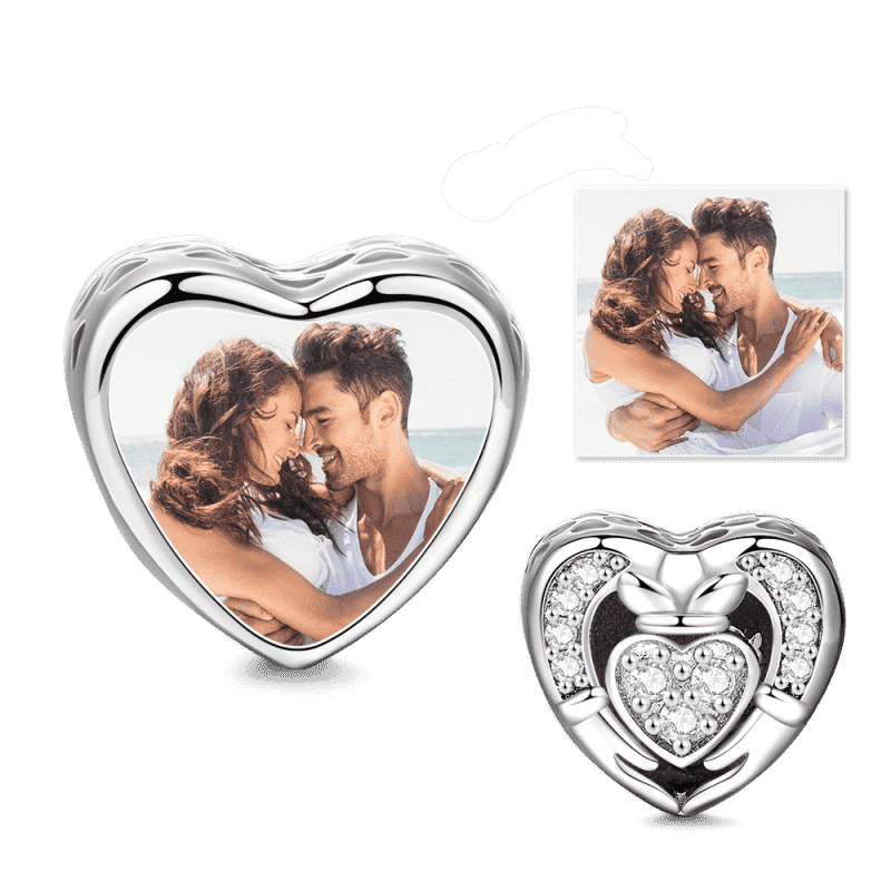 Pandora Compatible 925 sterling silver Heart Cladda Photo Charm Platinum Plated Silver From CharmSA Image 1