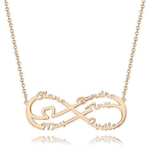 Infinity Necklace With Five Names, Family Name Necklace Rose Gold Plated - Rose Gold