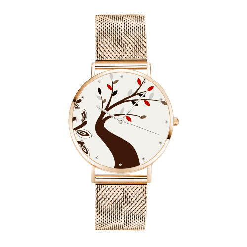 Unisex Tree Painting Dial Watch 40mm Rose Gold Plated From CharmSA Image 1