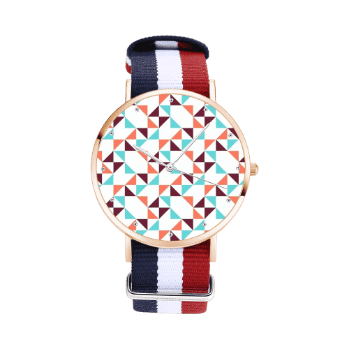 Unisex Geometry Dial Watch Colorful Nylon Strap 40mm Rose Gold Plated Case