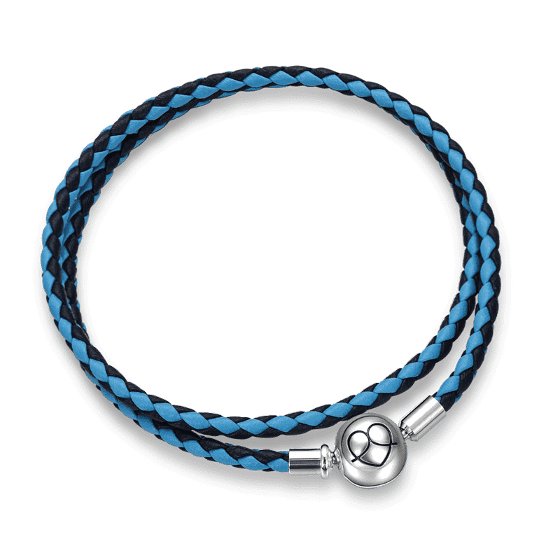 Double Blue Duotone Cow Leather Bracelet - 40CM Silver From CharmSA Image 1