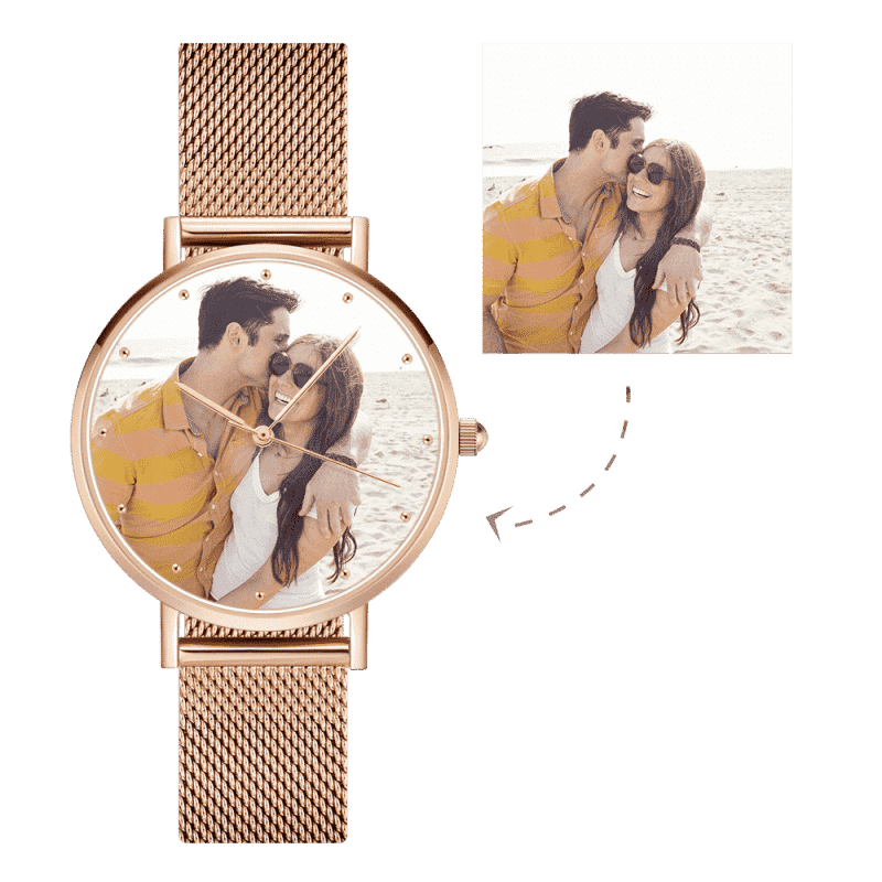 Unisex Engraved Rose Gold Alloy Bracelet Photo Watch 40mm
