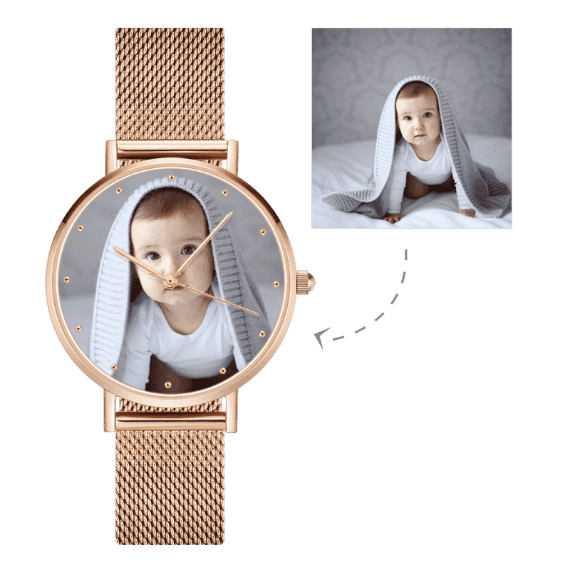 Women's Engraved Rose Gold Alloy Bracelet Photo Watch 36mm From CharmSA Image 1