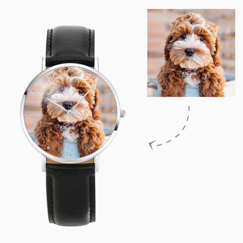Women's Engraved Photo Watch Black Leather Strap 36mm From CharmSA Image 1