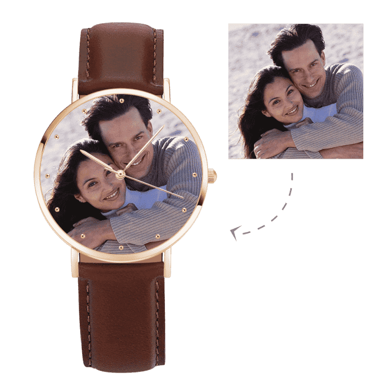 Unisex Engraved Rose Goldtone Photo Watch Brown Leather Strap 40mm From CharmSA Image 1