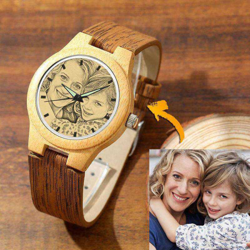 Women's Engraved Bamboo Photo Watch Wooden Leather Strap 40mm From CharmSA Image 1
