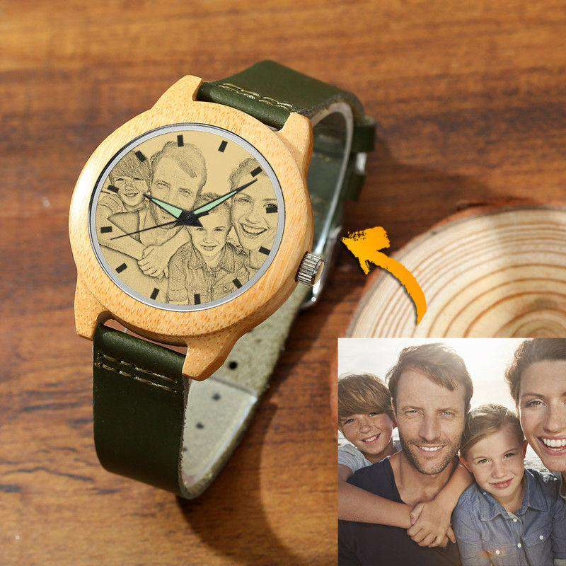 Men's Bamboo Photo Watch Dark Green Leather Strap 45mm From CharmSA Image 1