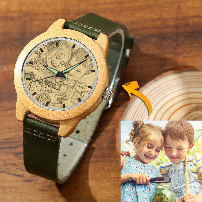 Women's Engraved Bamboo Photo Watch Dark Green Leather Strap 40mm From CharmSA Image 1