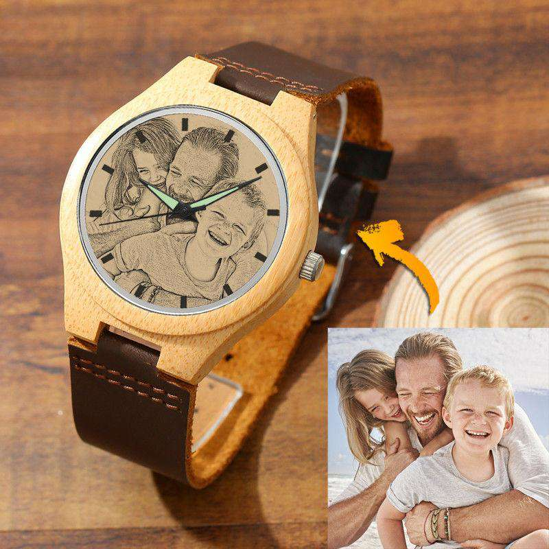 Men's Engraved Bamboo Photo Watch Brown Leather Strap 45mm From CharmSA Image 1