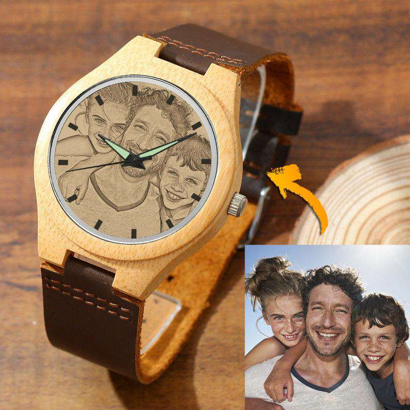 Women's Engraved Bamboo Photo Watch Brown Leather Strap 40mm