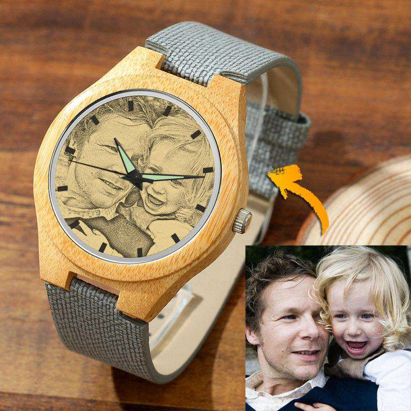 Men's Engraved Bamboo Photo Watch Grey Leather Strap 45mm From CharmSA Image 1