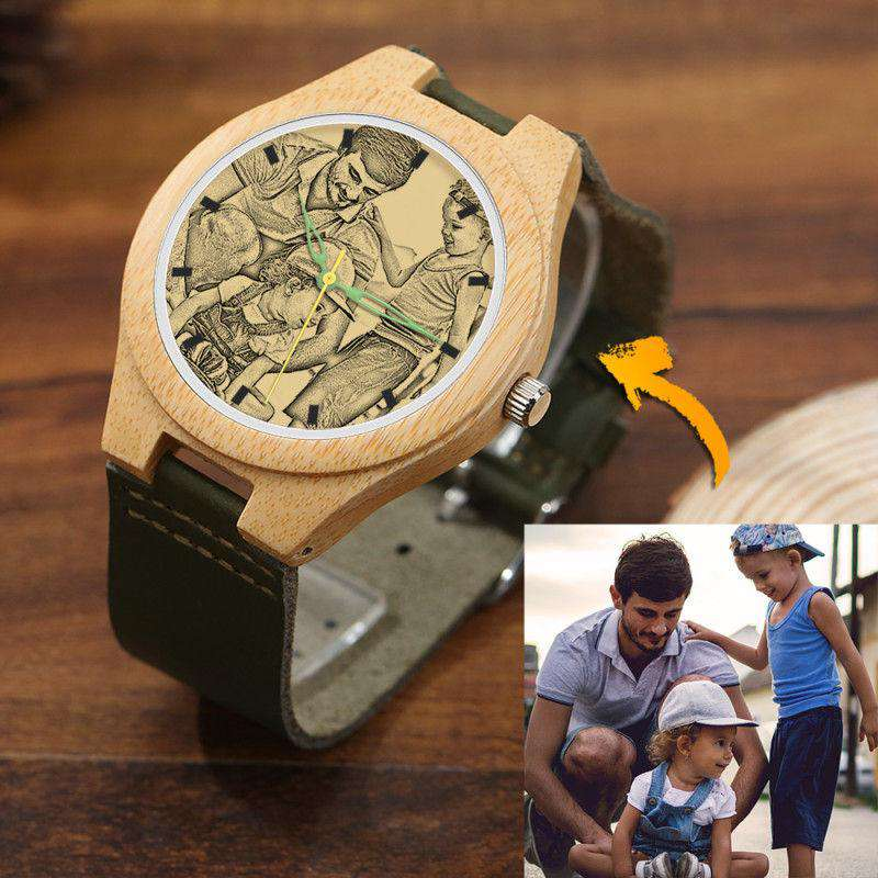Men's Engraved Bamboo Photo Watch Dark Green Leather Strap 45mm From CharmSA Image 1