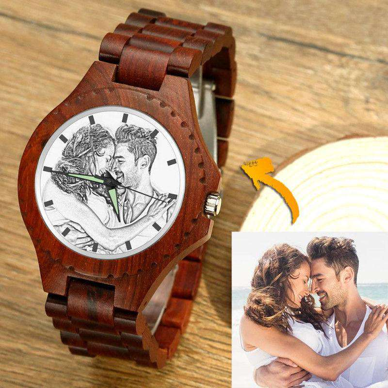 Unisex Photo Watch 48mm Wood Grain Strap