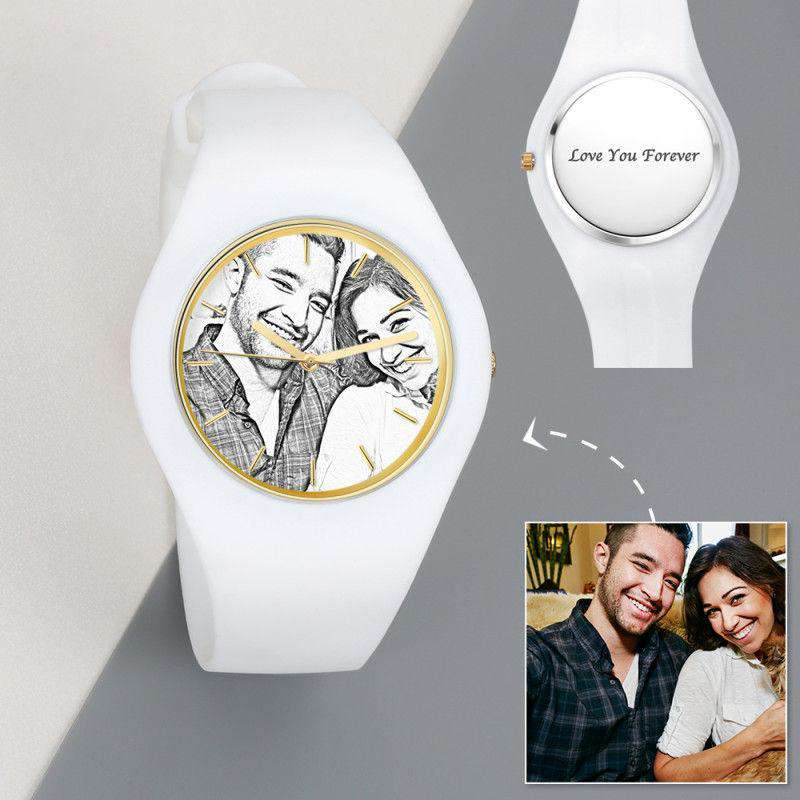 Men's  Silicone Engraved Photo Watch Men's Engraved Photo Watch  41mm White Strap - Sketch From CharmSA Image 1