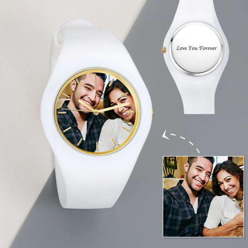 Men's  Silicone Engraved Photo Watch Men's Engraved Photo Watch  41mm White Strap From CharmSA Image 1