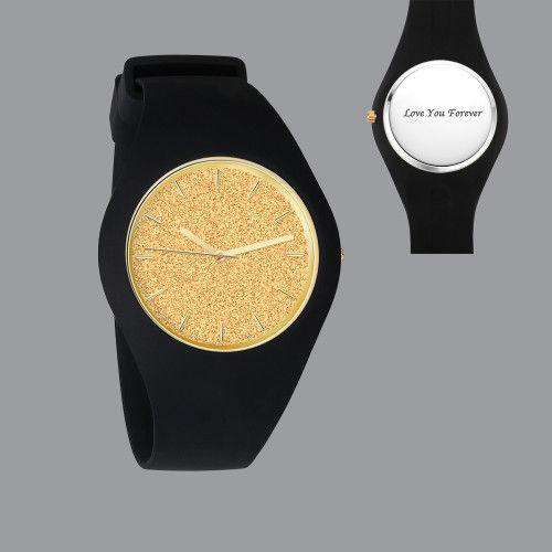 Unisex Silicone Engraved Watch Unisex Engraved Watch 41mm Black Strap - Golden
