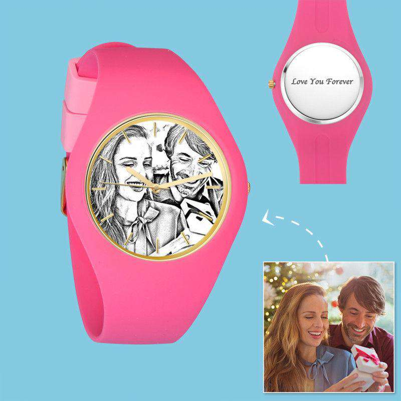 Women's  Silicone Engraved Photo Watch Women's Engraved Photo Watch  41mm Pink Strap - Sketch From CharmSA Image 1