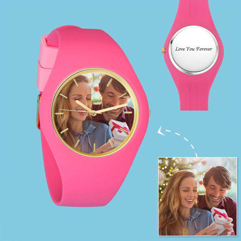 Women's  Silicone Engraved Photo Watch Women's Engraved Photo Watch  41mm Pink Strap