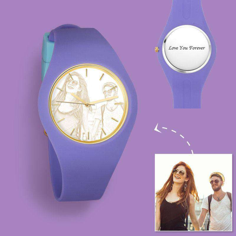 Women's  Silicone Engraved Photo Watch Women's Engraved Photo Watch  41mm  Purple Strap- Golden From CharmSA Image 1