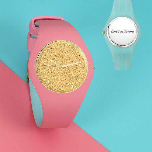 Unisex Silicone Engraved Watch Unisex Engraved Watch  41mm Pink and Blue Strap - Golden From CharmSA Image 1