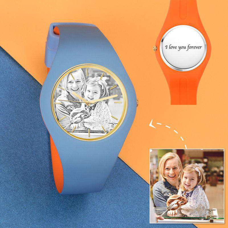 Unisex Silicone Engraved Photo Watch Unisex Engraved Photo Watch  41mm  Orange and Blue Strap - Sketch From CharmSA Image 1