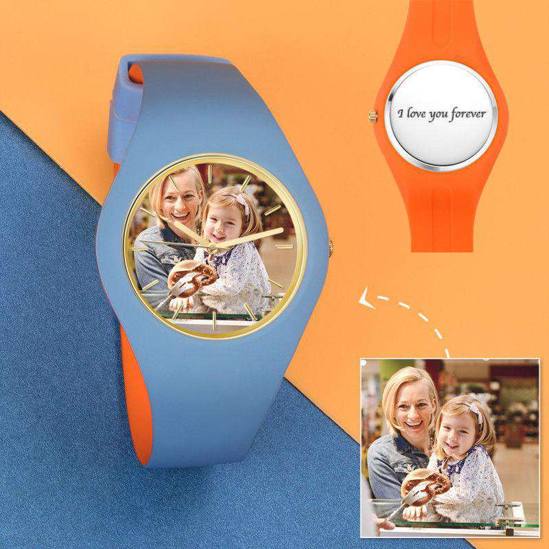 Unisex Silicone Engraved Photo Watch Unisex Engraved Photo Watch  41mm Orange and Blue Strap From CharmSA Image 1