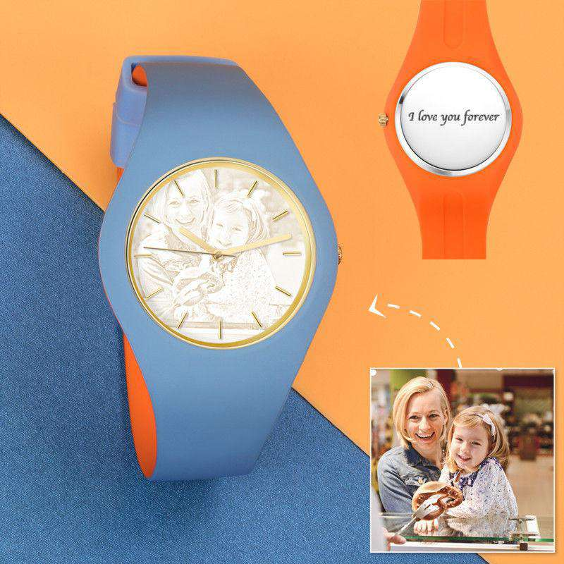 Unisex Silicone Engraved Photo Watch Unisex Engraved Photo Watch  41mm Orange and Blue Strap- Golden From CharmSA Image 1