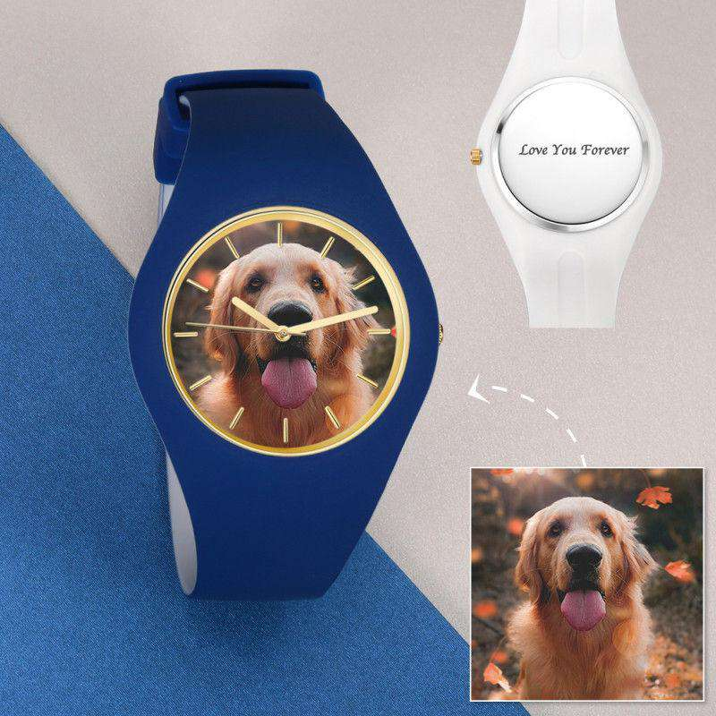 Unisex Silicone Engraved Photo Watch Unisex Engraved Photo Watch  41mm Blue and White Strap From CharmSA Image 1