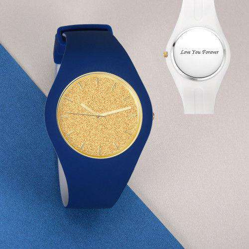 Unisex Silicone Engraved Watch Unisex Engraved Watch  41mm Blue and White Strap - Golden From CharmSA Image 1