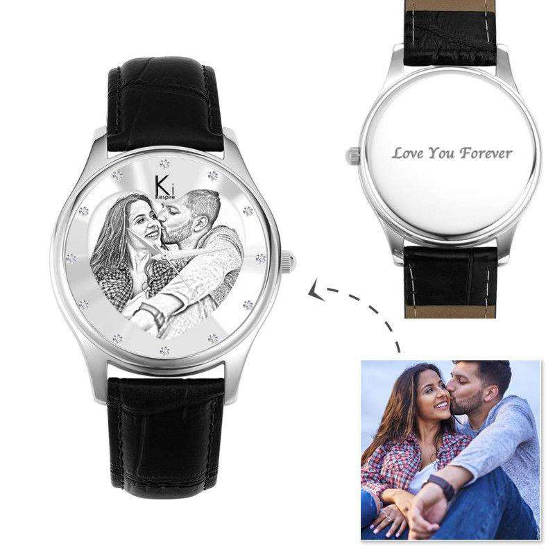 Women's Engraved Photo Watch 40mm Black Leather Strap - Sketch From CharmSA Image 1