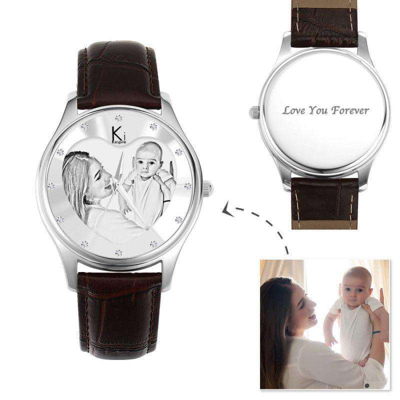 Women's Engraved Photo Watch 40mm Brown Leather Strap- Sketch From CharmSA Image 1