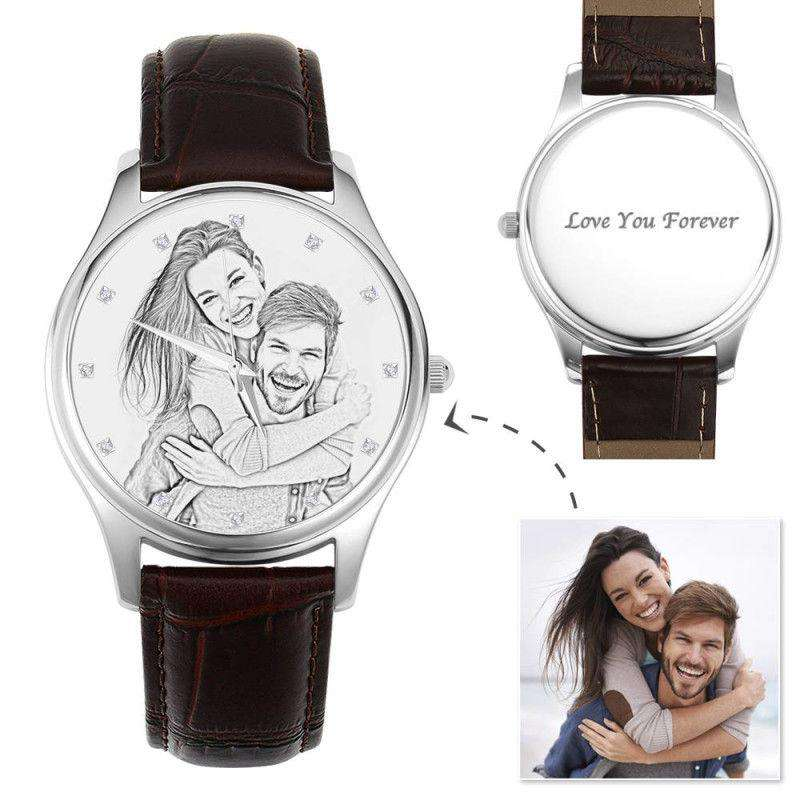 Men's Engraved Photo Watch 43mm Brown Leather Strap - Sketch From CharmSA Image 1