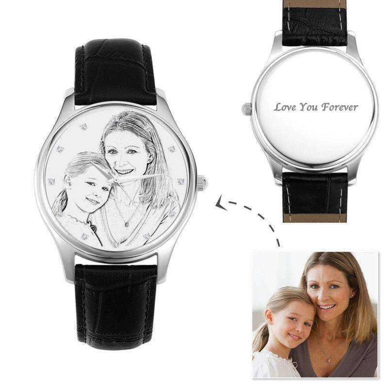 Women's Engraved Photo Watch 43mm Black Leather Strap - Sketch From CharmSA Image 1