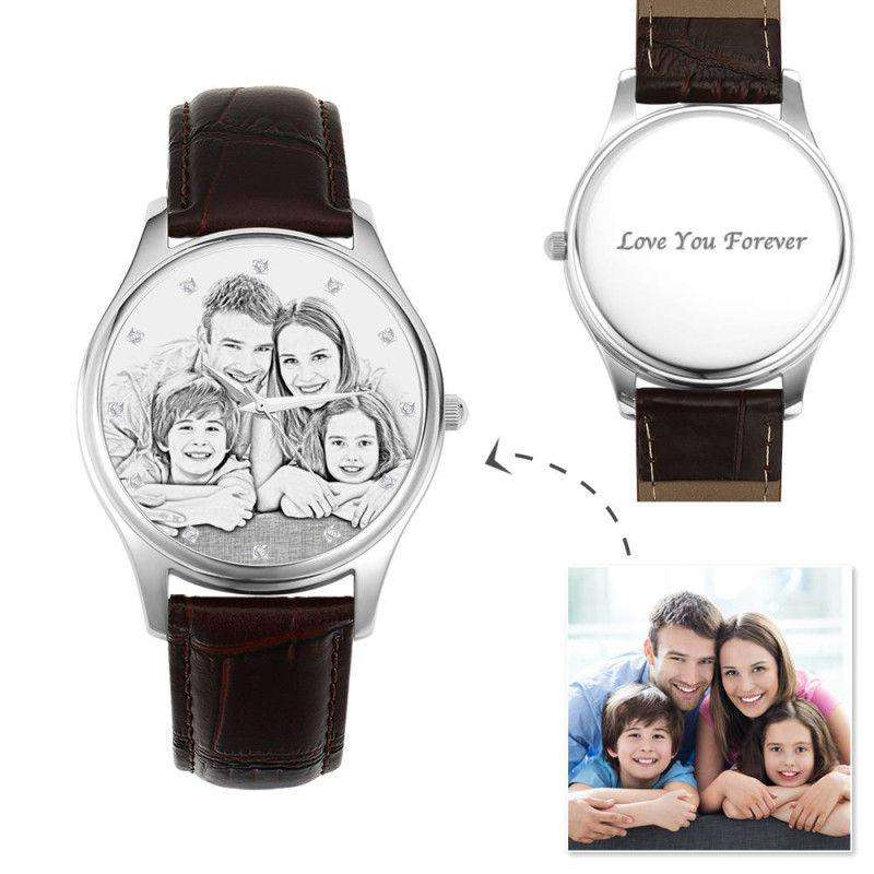 Women's Engraved Photo Watch 40mm Brown Leather Strap - Sketch From CharmSA Image 1