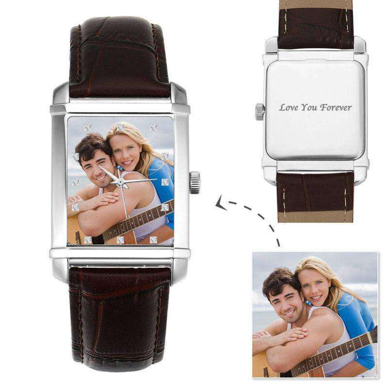 Men's Engraved Photo Watch 40*33mm Brown Leather Strap From CharmSA Image 1