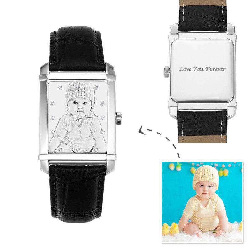 Women's Engraved Photo Watch 36.5*30mm Black Leather Strap - Sketch From CharmSA Image 1