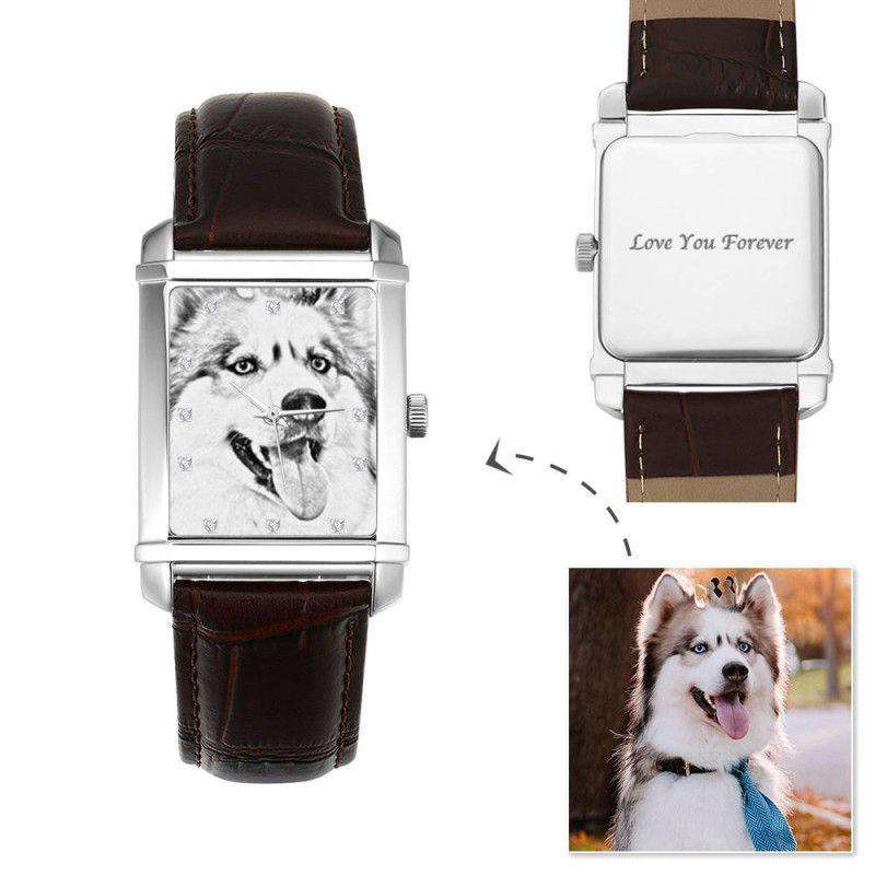 Women's Engraved Photo Watch 36.5*30mm Brown Leather Strap - Sketch From CharmSA Image 1
