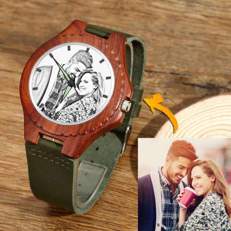 Unisex Engraved Photo Watch 48mm Wood Grain and Dark Green Strap - Sketch From CharmSA Image 1