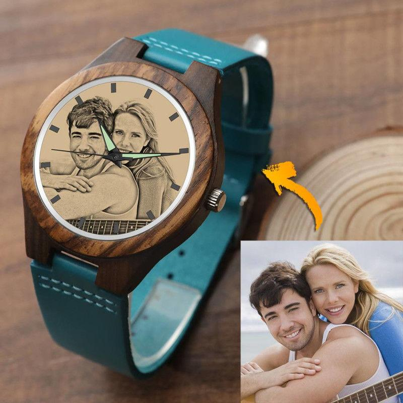 Men's Engraved Wooden Photo Watch Blue Leather Strap - Sandlewood
