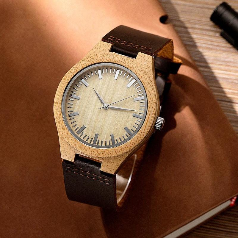 Personalized Photo Watch Wooden Watch Leather Strap