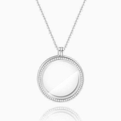 Circle - Large Locket Necklace Silver