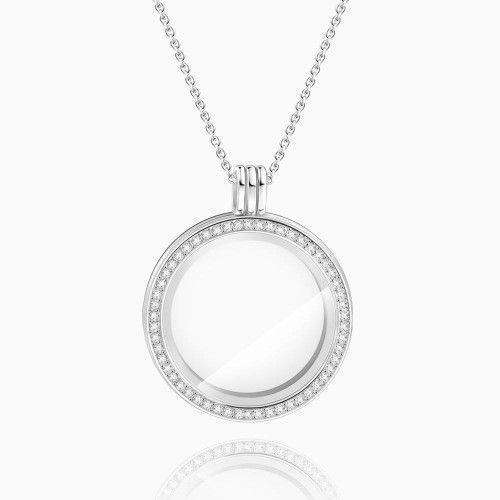 Circle - Small  Locket Necklace Silver