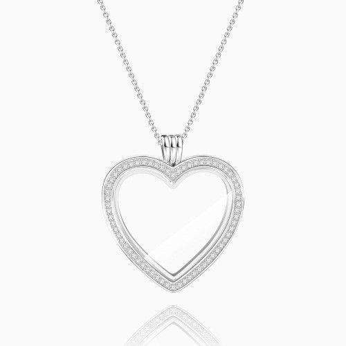 Heart - Large Locket Necklace Silver