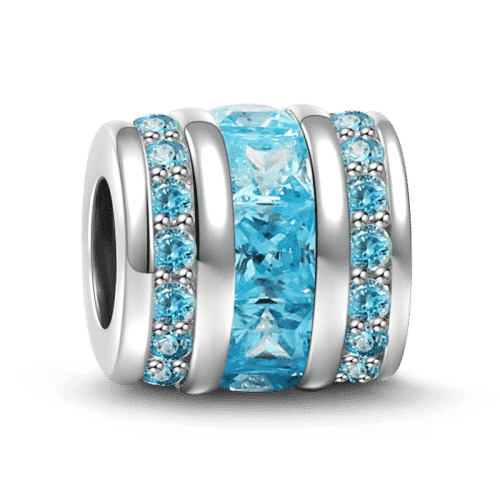 Pandora Compatible 925 sterling silver March Birthstone Light Blue Bucket Charm Silver From CharmSA Image 1