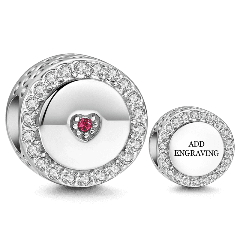 Pandora Compatible 925 sterling silver First Love Engraved Silver Charm with Swarovski Crystal From CharmSA Image 1