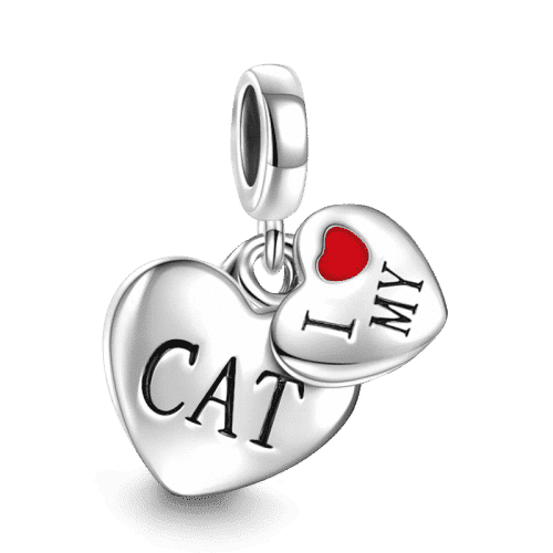 Pandora Compatible 925 sterling silver I Love My Cat Charm From CharmSA Image 1
