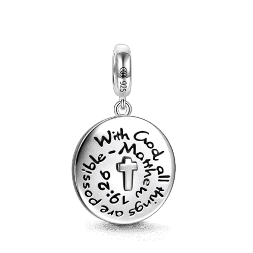 With God All Things Are Possible - Matthew 19:26 Charm Silver