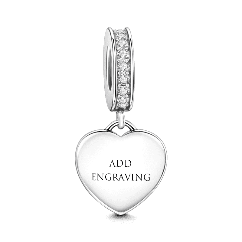 You are in My Heart Engraved Dangle Charm Silver